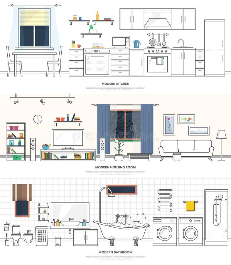 Nowożytni wnętrza kuchnia, żywy pokój i łazienka, Meble i akcesoria Wektorowa ilustracja w liniowym stylu ilustracji