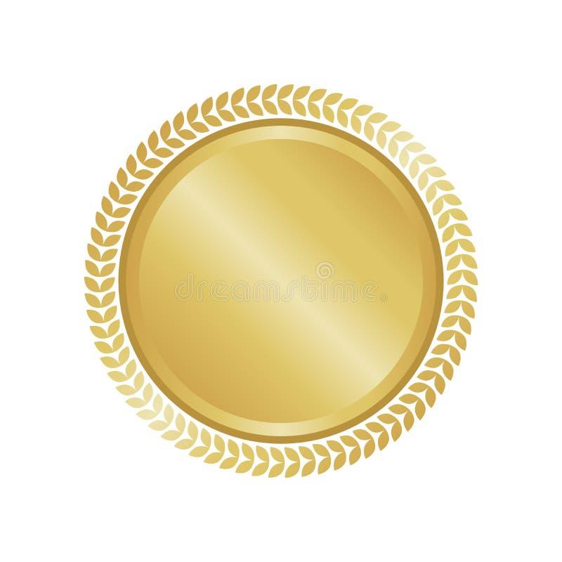 Nowożytni złociści okręgu metalu odznaki, etykietki i projekta elementy, również zwrócić corel ilustracji wektora royalty ilustracja