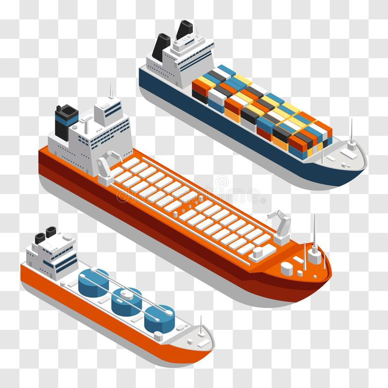 Nowożytny ładunków statków isometric wektorowy projekt Set transportów statki odizolowywający na przejrzystym tle ilustracja wektor