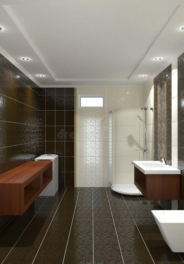 Download Nowożytny łazienki wnętrze ilustracji. Ilustracja złożonej z zmrok - 13333387