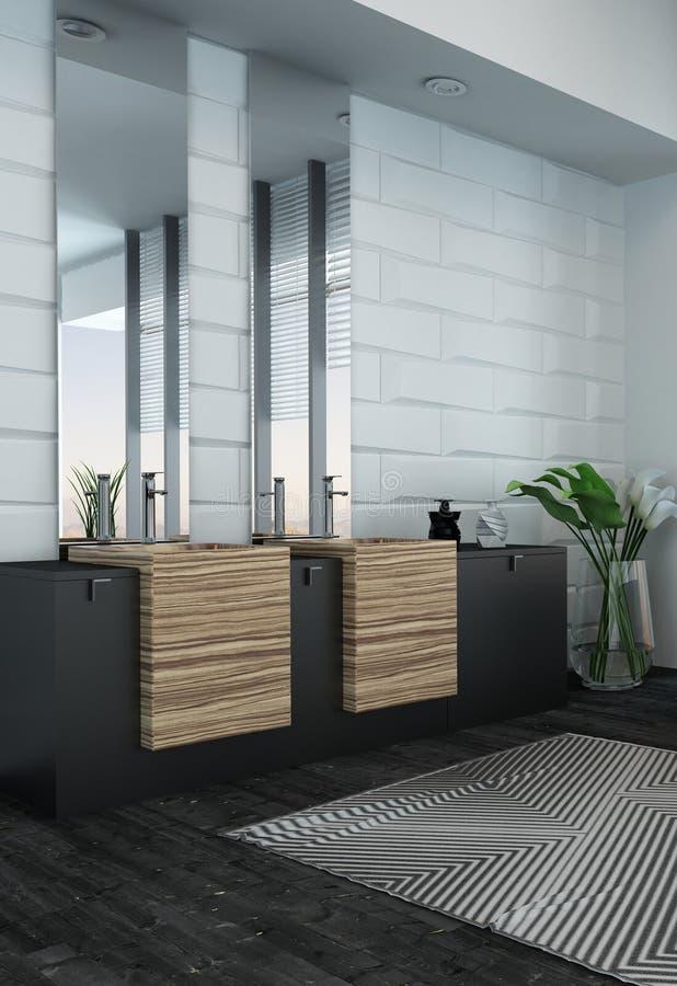 Nowożytny łazienki wnętrze z drewnianym meble obraz stock