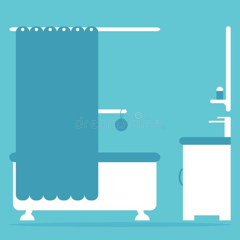 Download Nowożytny łazienki Wnętrze Z Skąpaniem, Zlew I Lustrem, Ilustracja Wektor - Ilustracja złożonej z dekoruje, skąpanie: 57671006