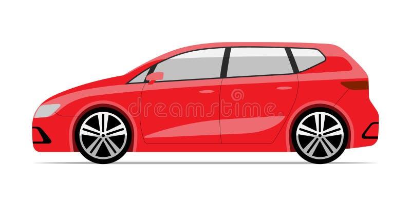 Nowożytny ścisły samochód w mieszkanie stylu Boczny widok Odizolowywaj?cy na Bia?ym tle Hatchback ilustracji