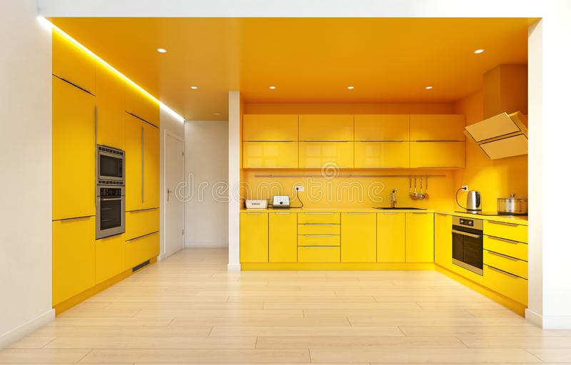 Nowożytny żółty kolor kuchni wnętrze royalty ilustracja