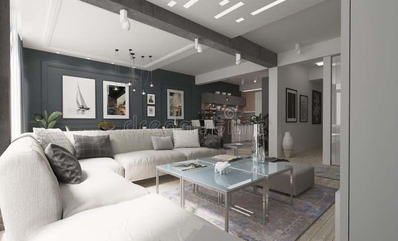 Nowożytny żywy izbowy wewnętrzny projekt z szarymi ścianami zdjęcie royalty free
