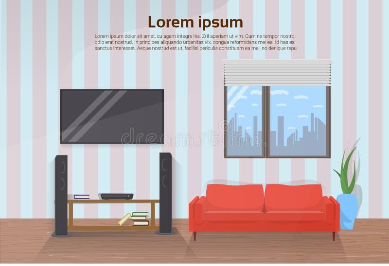 Nowożytny Żywy Izbowy wnętrze Z Czerwoną leżanką I Dużym Dowodzonym Televison Ustawiającymi Na ścianie ilustracja wektor