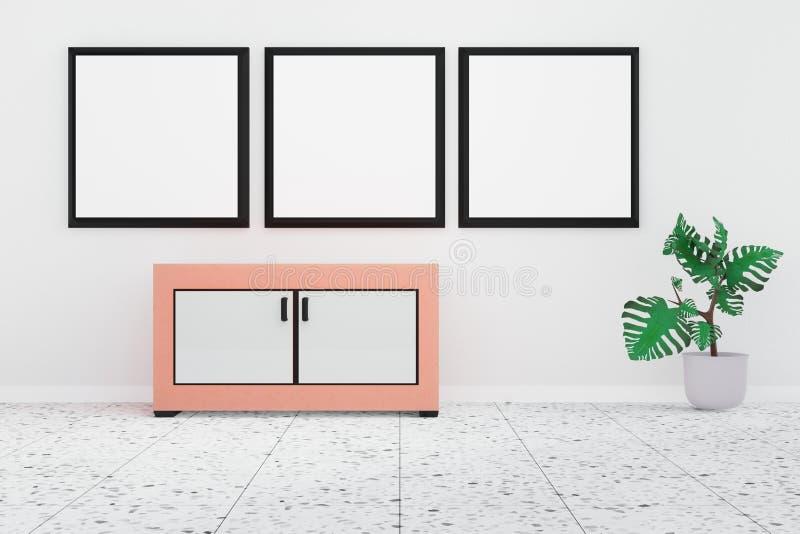 Nowożytny żywy izbowy wnętrze z 3 whiteboard na białej ścianie ilustracja wektor