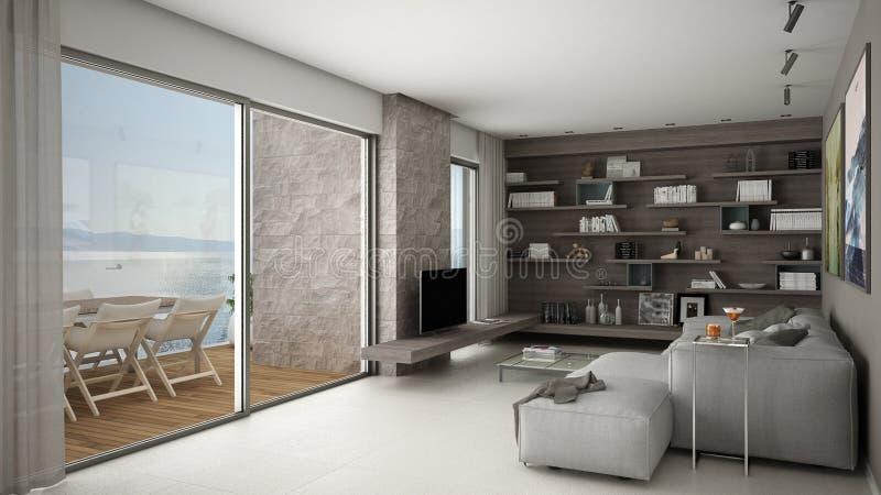 Nowożytny żywy pokój, otwarta przestrzeń z kanapą i półki, duży panoramiczny okno z tarasem obrazy royalty free