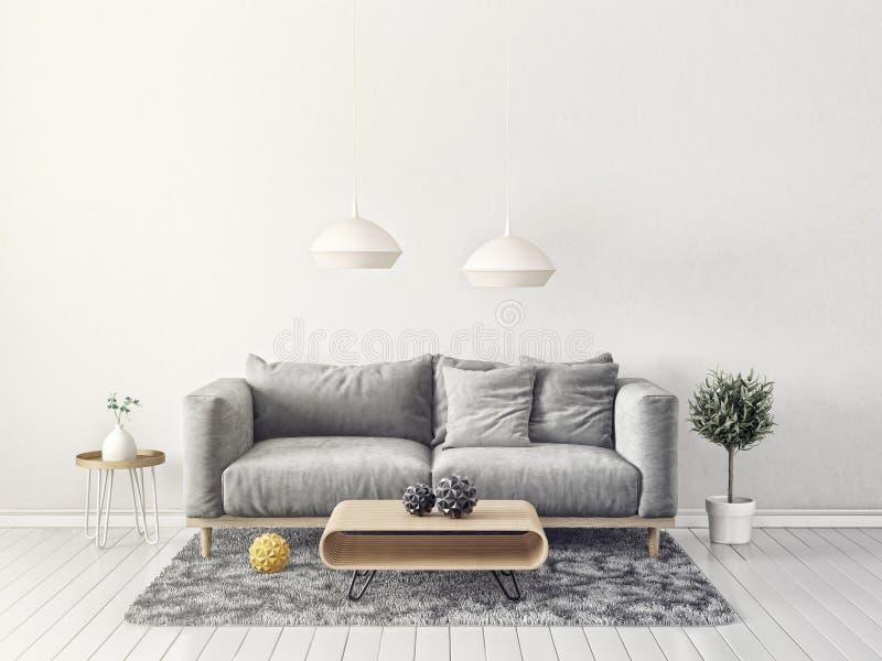 Nowożytny żywy pokój z kanapą i lampą scandinavian wewnętrznego projekta meble royalty ilustracja