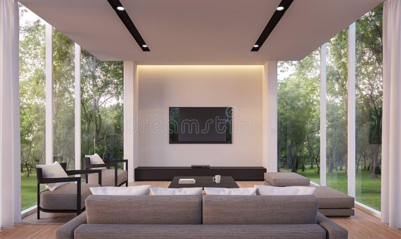 Nowożytny żywy pokój z ogrodowym widoku 3d renderingu wizerunkiem ilustracji
