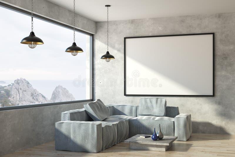 Nowożytny żywy pokój z plakatem ilustracja wektor
