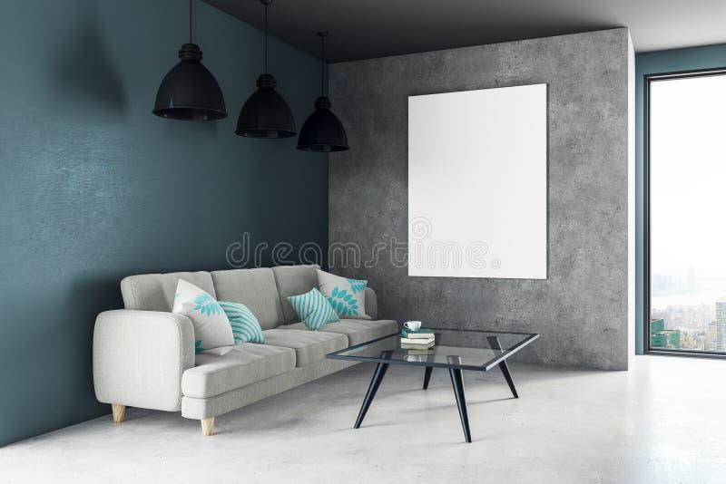 Nowożytny żywy pokój z plakatem ilustracji