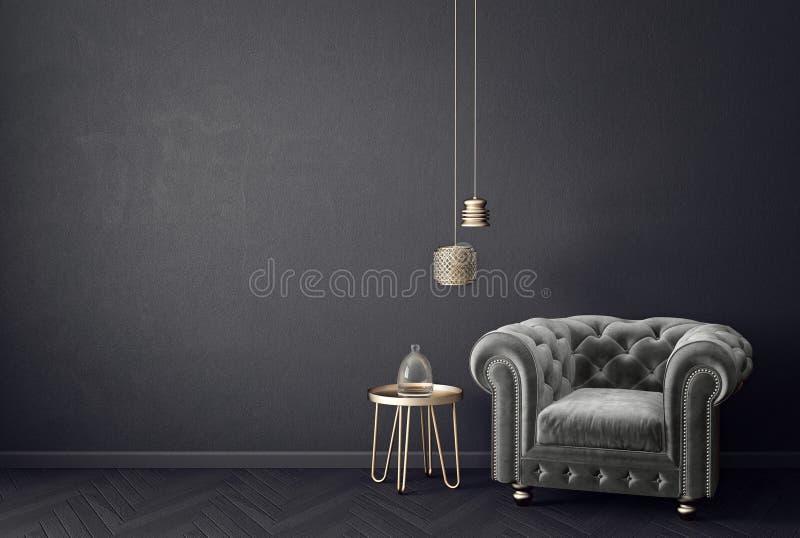 Nowożytny żywy pokój z popielatym karłem i lampą scandinavian wewnętrznego projekta meble ilustracja wektor