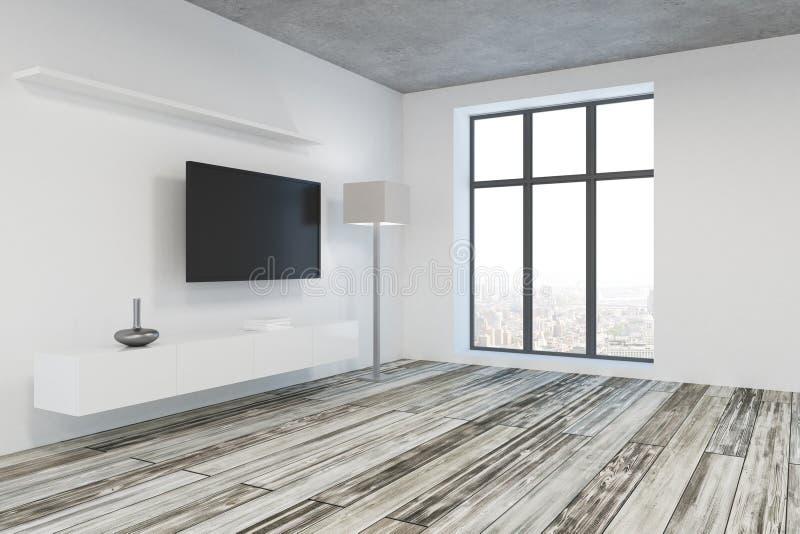 Nowożytny żywy pokój z pustego miejsca TV stroną ilustracja wektor
