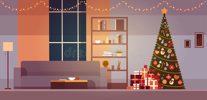 Nowożytny Żywy pokój Z zima wakacji dekoracjami choinka I girlandy Stwarza ognisko domowe wnętrze ilustracja wektor