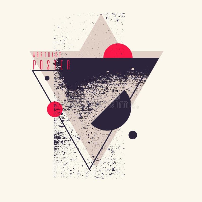 Nowożytny abstrakcjonistycznej sztuki geometryczny tło z mieszkaniem, minimalistic styl Wektorowy plakat royalty ilustracja