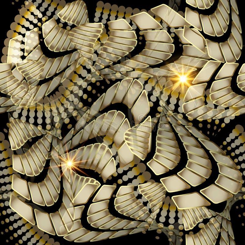 Nowożytny abstrakcjonistyczny geometryczny 3d wektorowy bezszwowy wzór Modny orn ilustracja wektor
