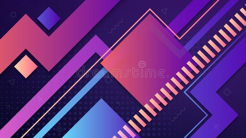 Nowożytny abstrakcjonistyczny geometryczny gradientowy tło z kolorowymi liniami, kwadratami i inny, kształtuje royalty ilustracja