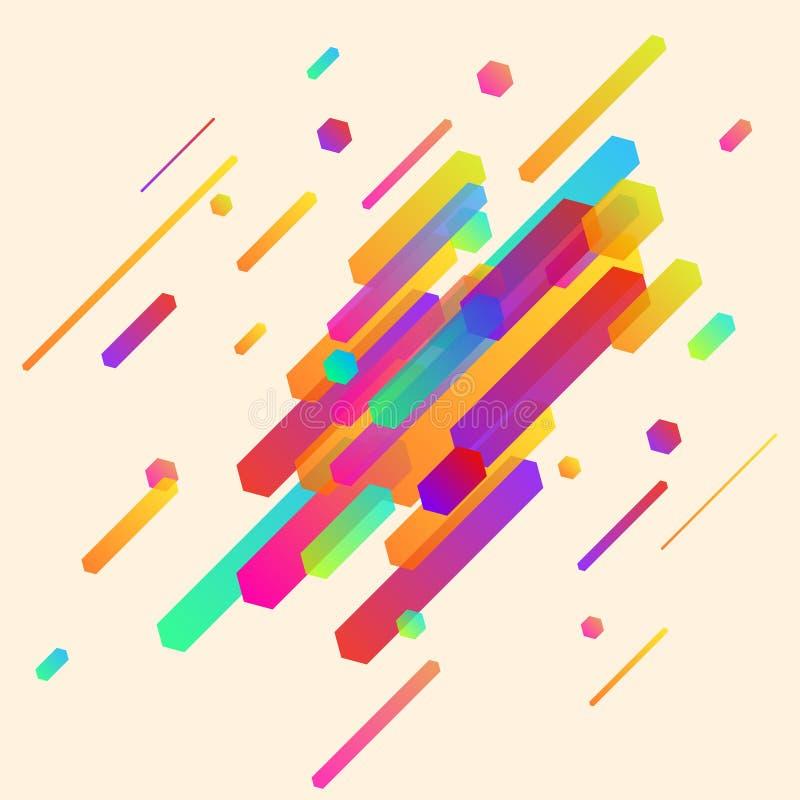 Nowożytny abstrakcjonistyczny minimalistic neonowy cienieje linia deseniowego układ ilustracji