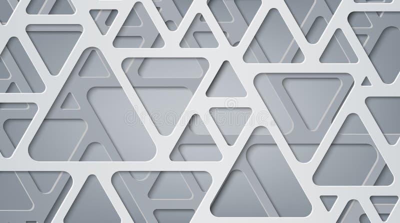 Nowożytny abstrakcjonistyczny szary tło trójboki Skutek cięcie papier Zaokrągleni kąty oblicza geometrycznego ilustracja wektor