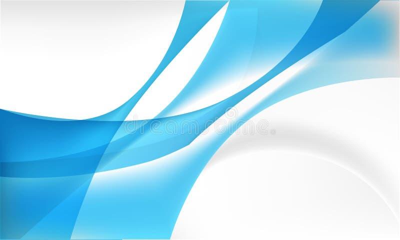 Nowożytny abstrakcjonistyczny tło z pokrywać się bieżącego kształt na błękicie i szarość kolorach royalty ilustracja