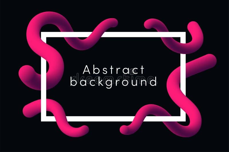 Nowożytny abstrakcjonistyczny tło z różowymi rzadkopłynnymi kształtami Ciekły dynamiczny kształta tło z ramą ilustracji