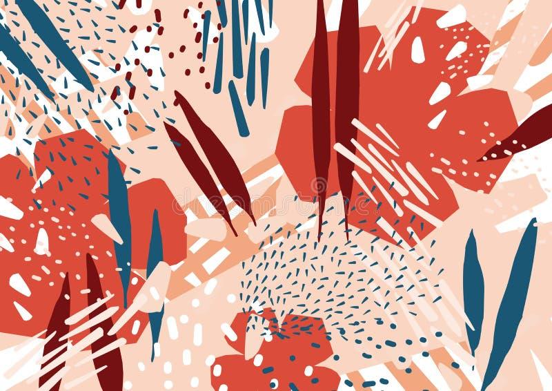 Nowożytny abstrakcjonistyczny tło z stylizowaną czerwienią, błękitów liście i kwiaty i Horyzontalny tło z naturalnymi dekoracjami ilustracja wektor