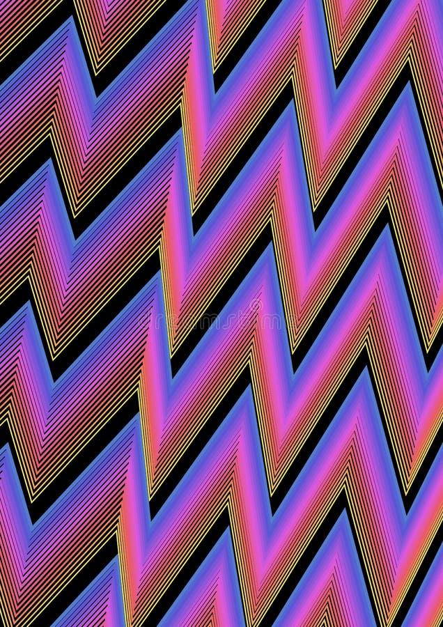 Nowożytny abstrakcjonistyczny tło z zygzag wykłada w błękicie, menchiach i czerni, Wibrująca colour kombinacja royalty ilustracja
