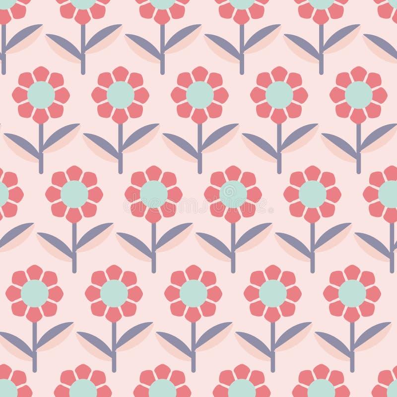 Nowożytny abstrakt kwitnie na różowego tła bezszwowym wzorze royalty ilustracja