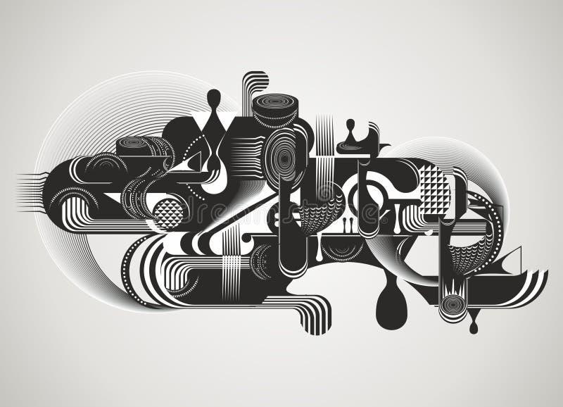 Nowożytny abstrakt z rzadkopłynnymi kształtami zdjęcia stock