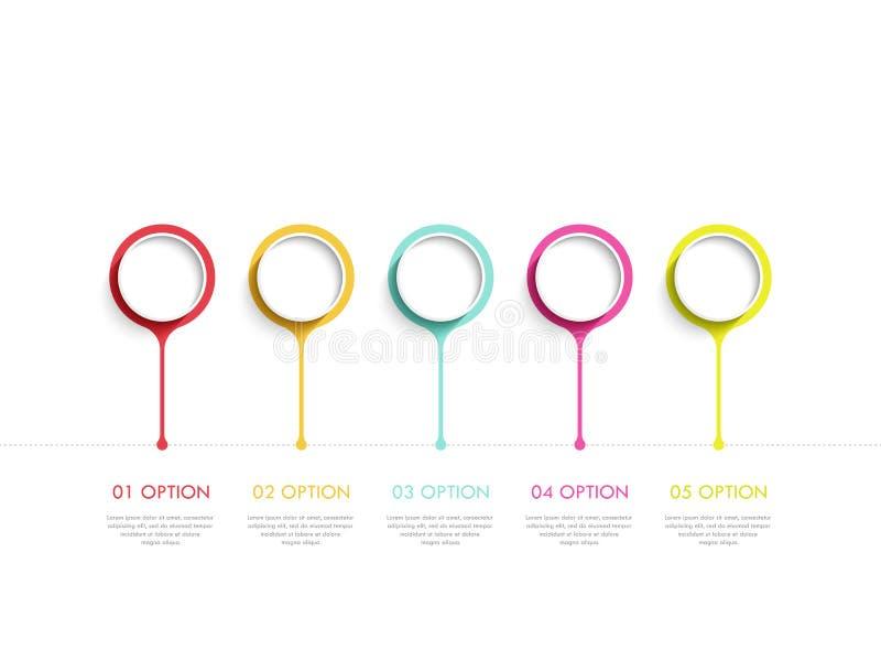 Nowożytny abstrakta 3D infographic szablon z pięć krokami Biznesowego okręgu szablon z opcjami dla broszurki, diagram 10 eps royalty ilustracja