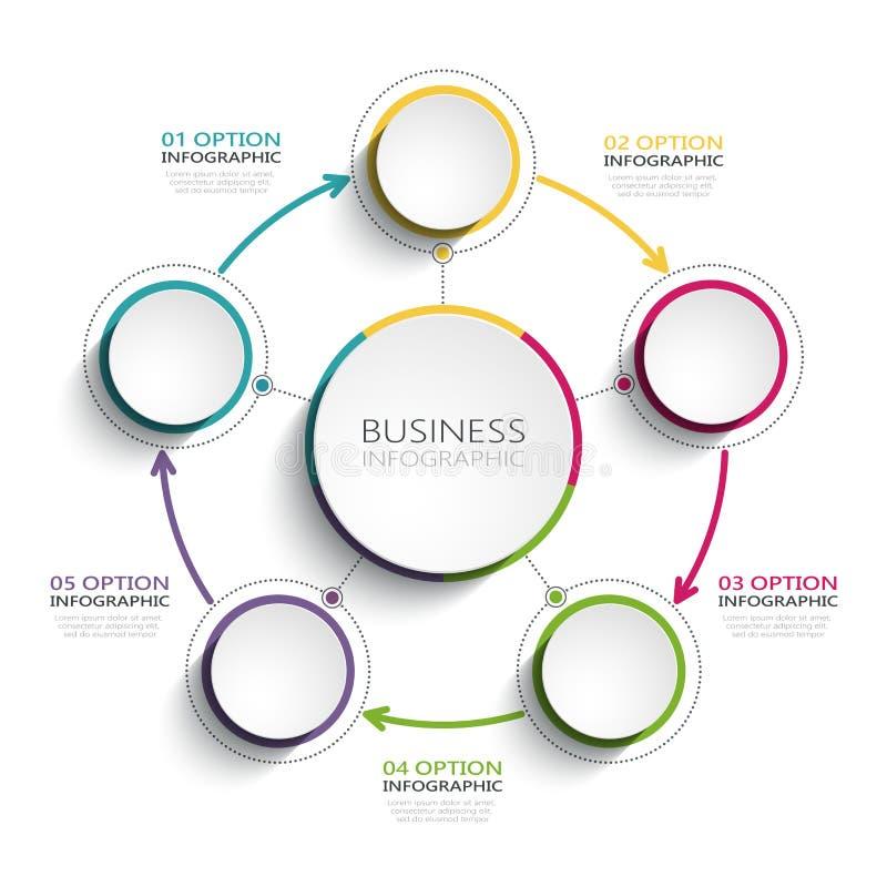 Nowożytny abstrakta 3D infographic szablon z pięć krokami Biznesowego okręgu szablon z opcjami dla broszurki, diagram, obieg royalty ilustracja