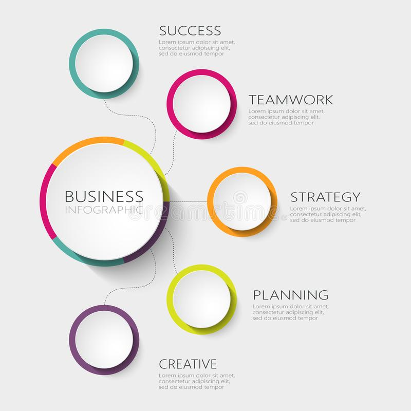 Nowożytny abstrakta 3D infographic szablon z pięć krokami dla sukcesu Biznesowego okręgu szablon z opcjami dla broszurki, diagram ilustracja wektor
