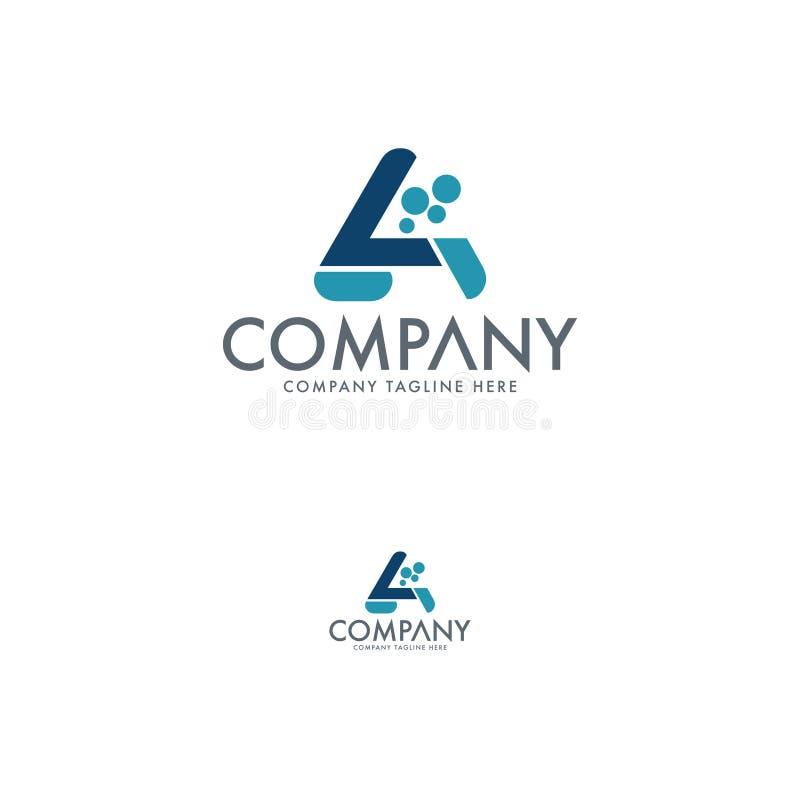 Nowożytny abstrakta listu A logo projekt Chemiczny firma logo szablon royalty ilustracja