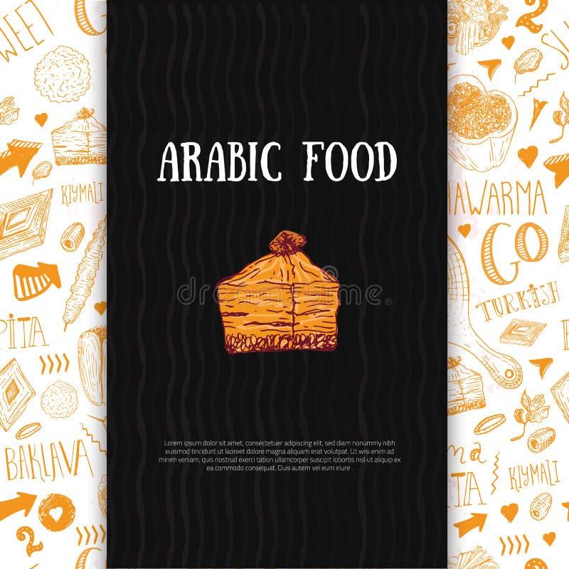 Nowożytny arabski karmowy sztandar w nakreślenie stylu z Kebabem, Dolma, Shakshuka Freehand wektorów doodles odizolowywający na z royalty ilustracja