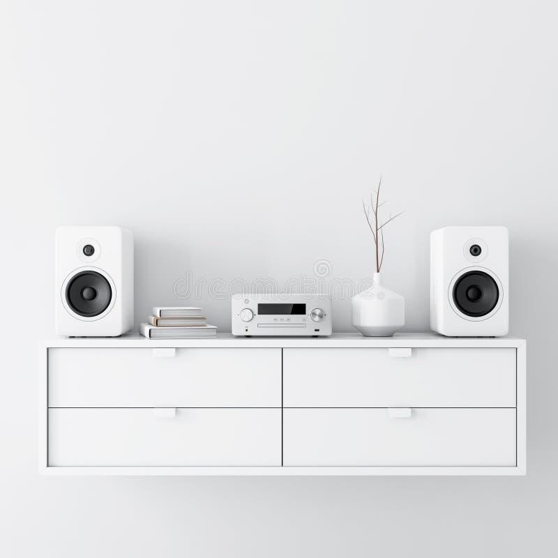 Nowożytny audio stereo system z białymi mówcami na biurze w nowożytnym wnętrzu ilustracji