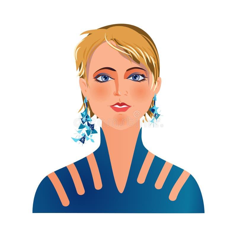 Nowożytny avatar blondynka włosy dziewczyna w nocy sukni ilustracja wektor