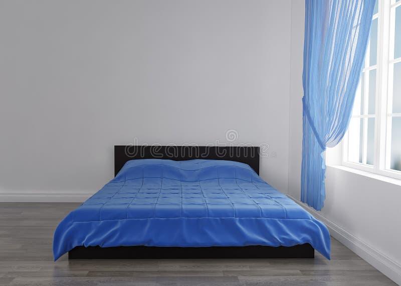 Nowożytny błękitny łóżko w pokoju blisko pustej ściany Mockup 3 d czynią royalty ilustracja
