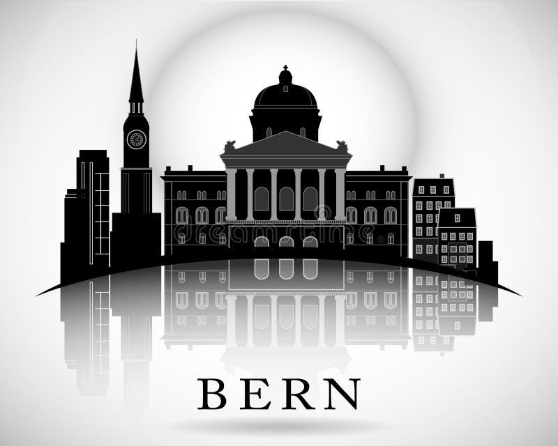 Nowożytny Bern miasta linii horyzontu projekt ilustracji