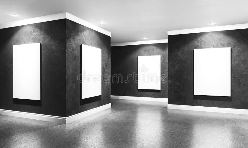 Nowożytny betonowy galeria pokój z kierunkowym światłem reflektorów i fram ilustracji