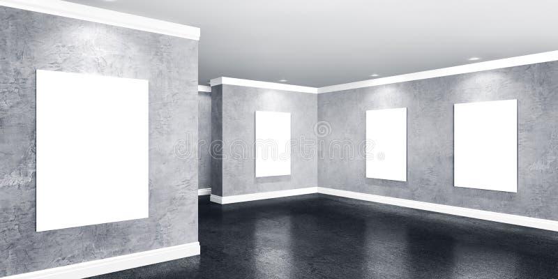 Nowożytny betonowy galeria pokój z plakatami na ścianach ilustracji