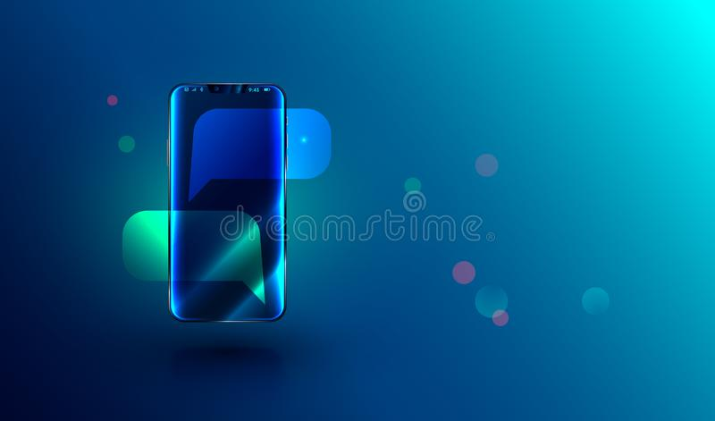 Nowożytny bezszkieletowy smartphone z pustą gadką gulgocze na ekranie wiadomość lub sms na telefonie komórkowym ilustracja wektor
