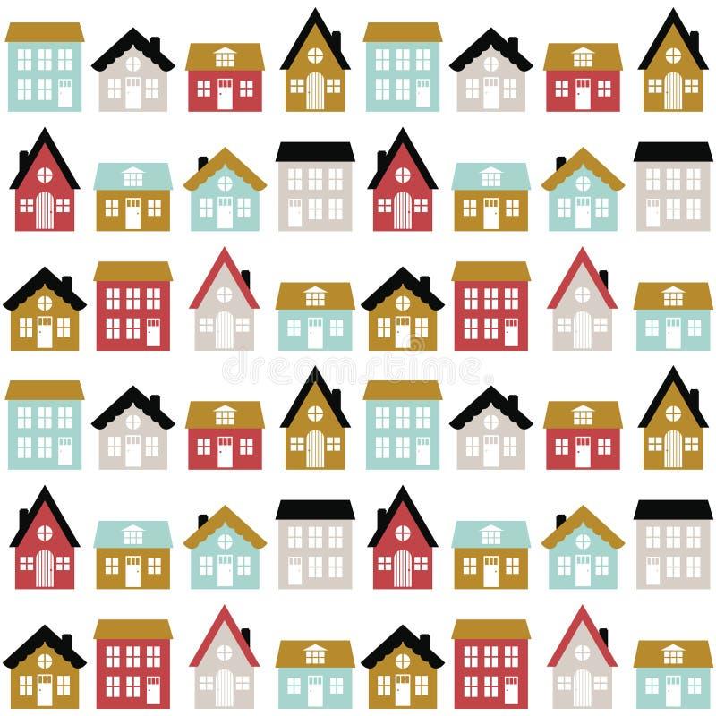 Nowożytny bezszwowy dziecięcy wzór z ślicznymi domami w scandinavian stylu Żartuje miasto teksturę dla druku ilustracji