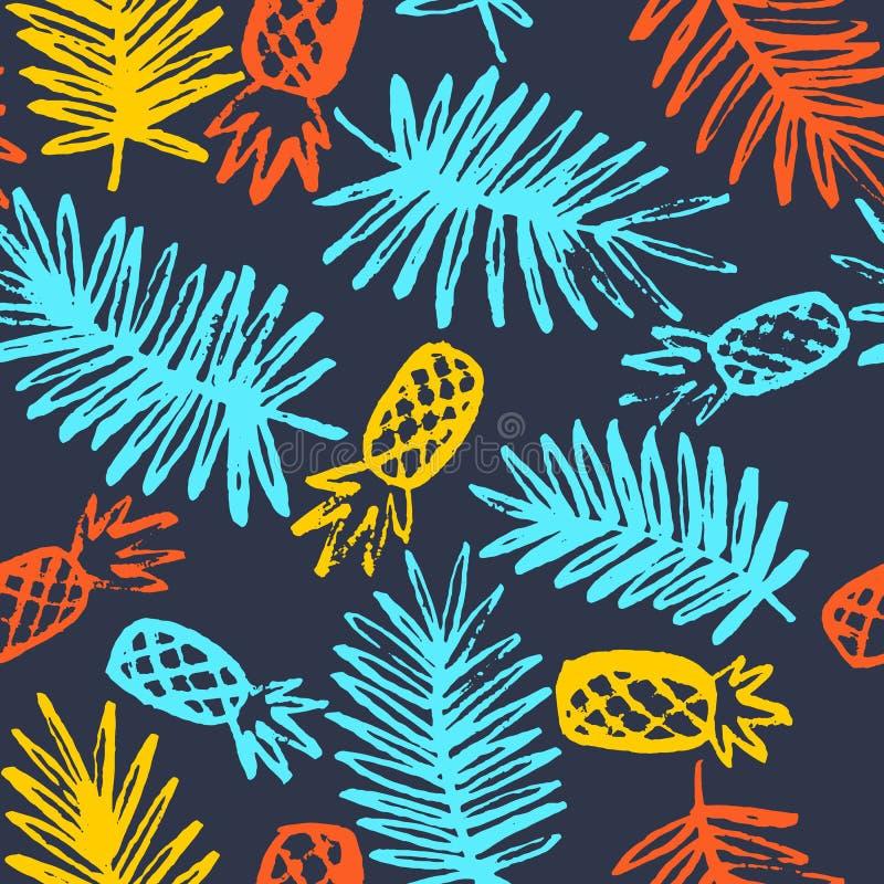 Nowożytny bezszwowy wzór z ananasami i palma liśćmi royalty ilustracja