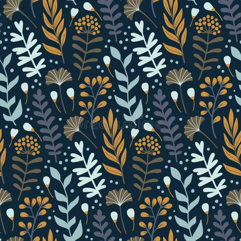 Nowożytny bezszwowy wzór z dzikimi kwiecistymi elementami kwiat patroszona ręka ilustracji