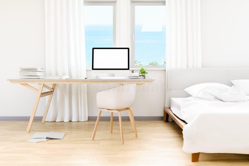 Nowożytny biała sypialnia z stołowego praca parka komputeru osobistego komputerowym mockup i morza plażowym tłem przy okno, 3D od ilustracji