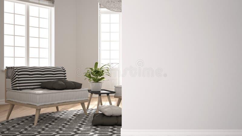 Nowożytny biały i drewniany żywy pokój z kanapą na pierwszoplanowej ścianie, wewnętrznego projekta architektury pomysł, pojęcie z royalty ilustracja