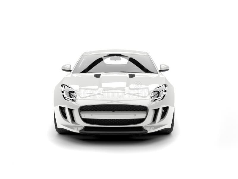 Nowożytny biały pojęcie sportów samochód - frontowy widok royalty ilustracja