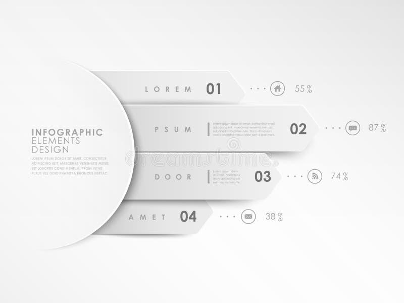 Nowożytny biały projektów sztandarów szablon infographic ilustracja wektor