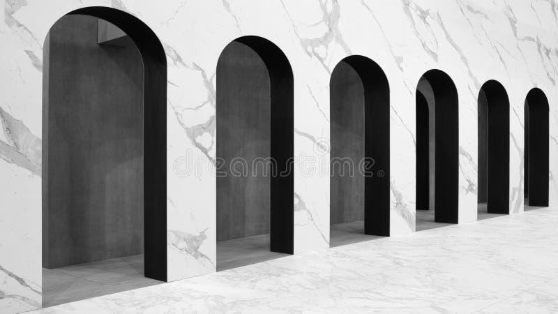 Nowożytny biel wysklepia architektonicznego tło z perspektywą obrazy royalty free